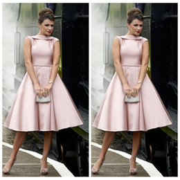 14a18e87cab Light Pink A Line Knee Length Bridesmaid Dresses Jewel Neck Crystal Sash  Satin Prom Gown Short Puffy Wedding Guest Skirt Maid Of Honor Dress