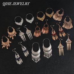 f3c129d7d Gypsy Chandeliers NZ - QIHE JEWELRY Ancient Silver Gold Color Tibetan  Filigree Earring Boho jewelry Gypsy