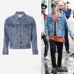 justin bieber fashion coating NZ - Men's Vintage Denim Jackets Famous Designer JUSTIN BIEBER Coat for Men Causal Hip hop Rock Male Outerwear Jackets J01