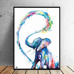 painting colorful NZ - Colorful Elephant Wall Art Canvas Painting Animal Paintings Wall Pictures For Living Room Bedroom Home Decor 191004