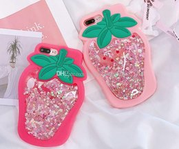 3d cartoon x NZ - 3D Quicksand Strawberry Glitter Liquid silicone case cartoon stars sparkle soft silicon cover with chain for iPhone x 7 6 XS XR xsmax