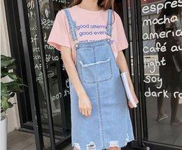 Vente en gros Jupes de cow-boy jupes étudiantes coréennes 2019 printemps et en été tailleur jupe longue trou