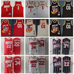 c6484ede3ec Vintage Mens  34 Houston Clyde Drexler Hakeem Olajuwon 01 Jack Rockets  22  Basketball Jersey Cheap Tracy McGrady Cactus Jack Stitched Shirts
