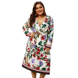 303a95e3a720 Boho Floral Long Sleeve High Waist Loose Plus Size 3XL 4XL Dress Women  Vestido Casual Summer Deep V-Neck Flower Dress