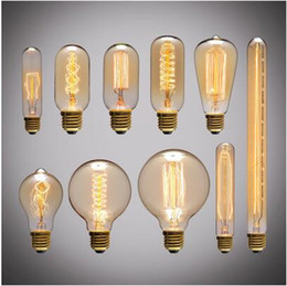 tube light e27 NZ - Retro Edison Light Bulb E27 220V 40W ST64 G80 G95 T10 T45 T185 A19 A60 Filament Incandescent Ampoule Bulbs Vintage Edison Lamp