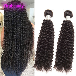 Hair tissage online shopping - Malaysian Human Hair Extensions Bundles Kinky Curly Natural Color Kinky Curly Inch Cheveux Double Wefts Tissage