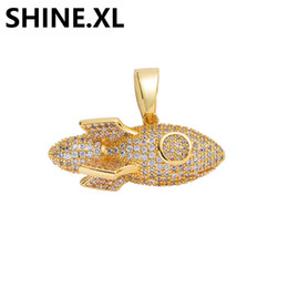 Rocket pendants online shopping - ICED OUT Micro Paved Zircon Rocket Ship Pendant Necklace with Stainless Steel Rope Chain Mens Hip Hop Jewelry
