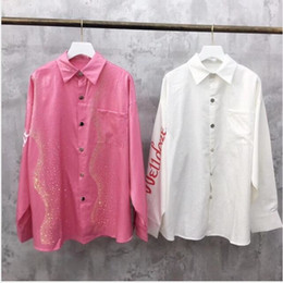 Loose pink diamonds online shopping - net red the explosion models women s super bright colorful shiny diamond long sleeve loose shirt