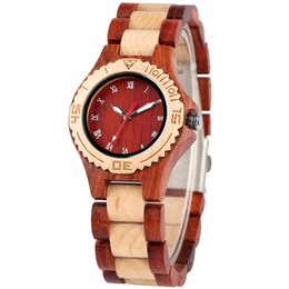 stylish ladies glasses Canada - Full Wood Watch Ladies Wood Bangle Clock Quartz Movement Elegant Women's Wristwatches Natural Stylish Female Watches