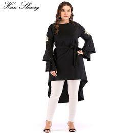 $enCountryForm.capitalKeyWord Australia - Women Tops Plus Size 2018 Muslim O Neck Ruffles Flare Long Sleeve Beading Embroidery Floral Blouse Belted Irregular Ladies Tops T4190613