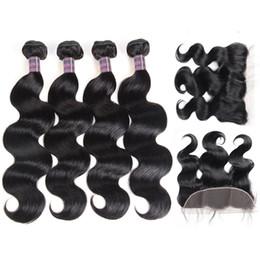 Discount cheap body wave human hair - Ishow Hair Weave Peruvian Human Hair Bundles With Closure Brazilian Body Wave Hair Weaves 4pcs With Lace Frontal Cheap