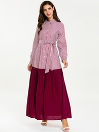 5ca43c40c0d05 2019 Fashion Musilm Abaya Dress Long Sleeves Bandage Stitching Pleated Thin  Muslim Prayer Kaffan Dresses 7651#