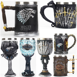 stainless games Australia - Game of Thrones Mug Goblet Stainless Steel Resin 3D Beer Tankard Coffee Cup Wine Glass Mugs 600ml 400ml 200ml BEST GOT Fan Gift