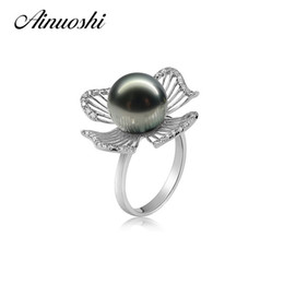 Natural Seawater Large Creek Land Black Pearl Ring Black Pearl 925 Pure Silver Ring One Piece Rise Book AINUOSHI A110
