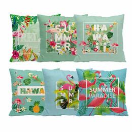 $enCountryForm.capitalKeyWord UK - LAPHIL Flamingo Party 45x45cm Cotton Linen Cushion Cover Hawaiian Party Decorations Throw Pillowcase Tropical Summer Party Decor