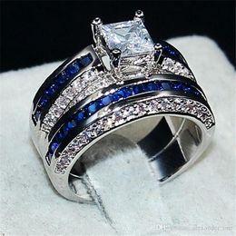 Bride Blue Jewelry Sets Australia - Fashion Jewelry Blue 6*6mm Princess-cut Topaz gemstone rings finger set 2-in-1 Luxury 10KT White Gold Filled Wedding Bride Ring for Women
