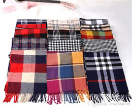 purple plaid scarf Australia - Autumn winter 2019 new fashion British plaid cashmere scarf lover style thermal shawl dual scarf