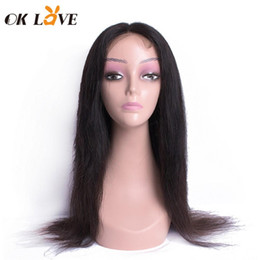virgin chinese straight hair 2019 - OKLove 4x4 Lace Front Human Hair Wigs Natural Color Silky Straight Hair Wigs Brazilian Virgin Hair Lace Frontal Wigs For