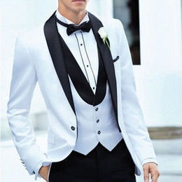 $enCountryForm.capitalKeyWord NZ - Latest Coat Pants Designs White+Black Men Suit Slim Fit 3 Piece Groom Tuxedo Groom Wedding Suits Custom Prom Blazer (Jacket+Pants+Vest)