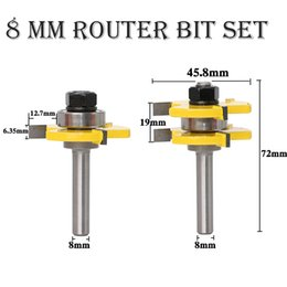 router carving Australia - WoodTenon Milling Cutter Carving Tool 8MM Tongue & Groove Joint Assembly Router Bit Set Woodworking