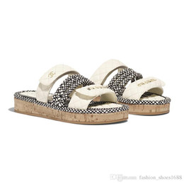 Wholesale Latest Women Flat Cord Mules Leather Slide flip flops Sandals Summer Beach Slippers with Straw Weaving Sole