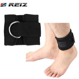 Legs Rings Australia - REIZ 1PCS Comfortable D-ring Ankle Straps Ankle support Men Women Sport Thigh Leg Lifting Exercise Training Straps Tool