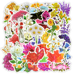 China 50 PCS Waterproof Plant Flower Stickers Decals Toys for Kids Teens Adults DIY Home Garden Wedding Laptop Luggage Helmet Skateboard Bike Car cheap skateboard luggage suppliers