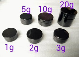 small round plastic lids NZ - 3Gram Cosmetic Sample Empty Jar Plastic Round Pot Black Screw Cap Lid, Small Tiny 3g Bottle, for Make Up, Eye Shadow, Nails, Powder, Paint