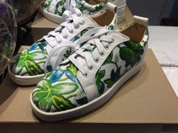 Flower Spring Top Australia - MFF996Ze Size 35-47 Men Women White Leather With Green Flower Printed Low Top Lace Up New Fashion Rubber Sole Sneakers