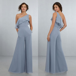 $enCountryForm.capitalKeyWord Australia - Fashion Jumpsuit Bridesmaid Dresses Ruffled One Shoulder Wedding Guest Dress Floor Length Chiffon Pant Suits Plus Size Maid Of Honor Gowns