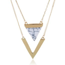 Triangle shape necklace online shopping - New Fashion Triangle hoard of V shape pendant necklace ladies retro charm necklace party jewelry accessories
