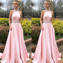 HigH quality broocHes online shopping - 2019 Pink Prom Dresses Halter Beads Sweep Train High End Quality Evening Party Dress Hot Sales