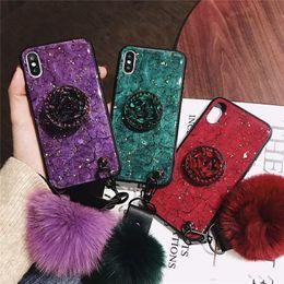 Fox Fur Iphone Case Australia - Luxury Fashion Emerald Shiny Diamond Expandable Airbag Bracket Fox Fur Ball Phone Case For iPhone 6 7 8 plus XR XS MAX Cover