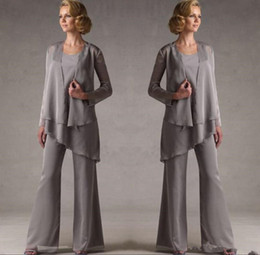 lilac lavender pant suits women Canada - Mother Dresses Grey Chiffon Bridal Mother Bride Dresses Pant Suits With Jacket Women Evening Pant Suits Long Sleeve Evening Dresses