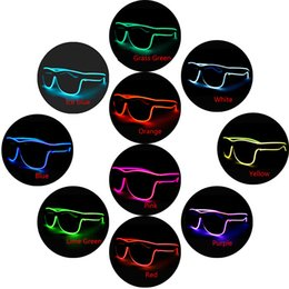 el wire pc Australia - LED Flashing Glasses 10 colors EL Wire LED Glasses Glowing Party Supplies Lighting Novelty Gift Bright Light Festival Party Glow Sun glasses