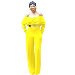 $enCountryForm.capitalKeyWord UK - Women Ruffle Off Shoulder Jumpsuits Rompers Sexy Yellow Fashion Venetian Long Sleeve Pockets Loose Catsuits Casual Overalls Suits