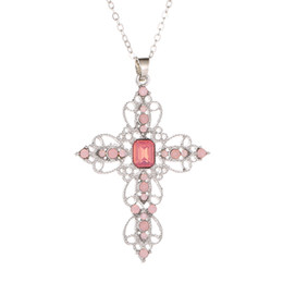 Black diamonds cross necklace online shopping - GUIBOBO Women s Necklace Cross Pendent Catholic Christianity Alloy Clavicle Chain Hollow Diamond Bohemian Classic Fashion NO019815743