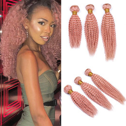 $enCountryForm.capitalKeyWord NZ - 3 Bundles Pink Human Hair Kinkys Curly Extensions Cheap Pure Colored Light Pink Virgin Indian Hair Weave Double Weft 3Pcs Lot