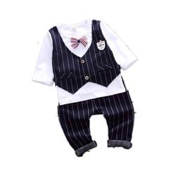$enCountryForm.capitalKeyWord Australia - 2019 New Spring Baby Boys Clothes Kids Full Sleeve Suit Gentleman Bowknot Tie T-Shirt Pants 2pcs Sets Infant Clothing Tracksuits