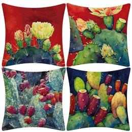Discount lighting for backyard - Tropical Succulent Plants Cactus Flower Printing Throw Pillows Cushion Cover for Couch Car Sofa Backyard Kitchen Home Ro
