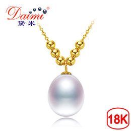 $enCountryForm.capitalKeyWord Australia - Daimi 2017 New 18k Pearl Pendant 8-9mm Tear Drop Pearl Choker Pendant Necklace 18k Yellow Gold Chain Pendant Gift For Women Y19052301