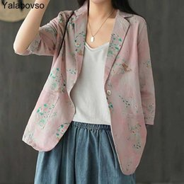ladies floral print jackets NZ - Women Floral Printed Oversize Jackets Women Coats Newest Summer Korean Fashion Clothing Ladies Casual Linen Blazer Yalabovso