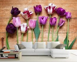 China custom size 3d photo wallpaper mural living room bed room tulip flower board 3d picture sofa TV backdrop wallpaper mural non-woven sticker cheap tulip flowers pictures suppliers