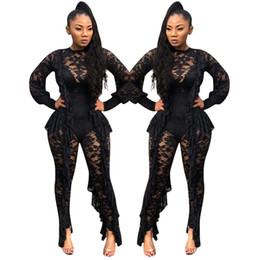 One Sleeve Ruffle Jumpsuit UK - Long Sleeve Sexy Sheer Black Lace Jumpsuit Bodysuit Women See Through Ruffle Party Club Wear One Piece Bodycon Jumpsuit