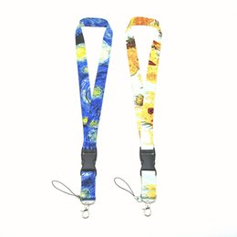Work Id Card Lanyard Australia - Vintage fashion van Gogh oil painting Lanyard Key Chain Necklace String E-Cigarette Neck Strap Work ID card lanyard For iPhone Samsung Hot
