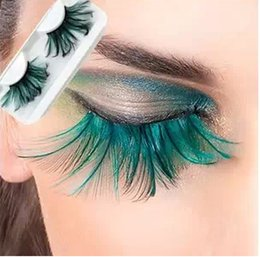 $enCountryForm.capitalKeyWord NZ - Speical design Individual 100% Real Feather False Eyelashes Wholesale 3D Fake Eyelash Costume Crazy Party Cheap lashes Extension