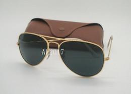 $enCountryForm.capitalKeyWord Australia - High Quality Classic Mens Womens Sunglasses Metal Sun Glasses Gold Black Glass Lenses UV Protection With Case And Box