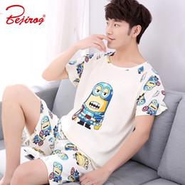 321c3590e5d42 Bejirog hommes pyjamas dessin animé vêtements de nuit en coton vêtements de nuit  vêtements de nuit à manches courtes vêtements de sommeil pour hommes, ...