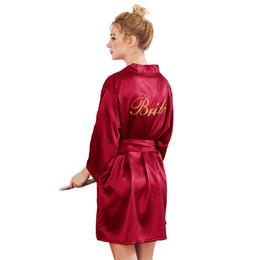 Wholesale satin bathrobes for women for sale – plus size Sexy Large Size Sexy Satin Night Robe Bathrobe Wedding Bride Bridesmaid Robes Dressing Gown For Women Golden Word robes