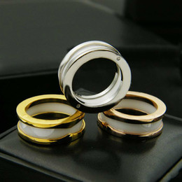 Discount animals ceramics - Black White  Pink Narrow Ceramic Rings,Yellow Gold  Rose Gold Platinum Plated Stainless Steel Women Men Fashion Jewelry